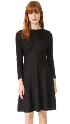 Marc Jacobs Long Sleeve Dress With Crochet Collar Black