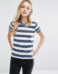 Rollas Rolla's Stripe T Shirt With Contrast Collar Navy Stripe Multi