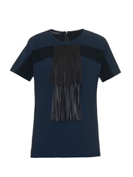 Cedric Charlier Fringed Front Crepe Top