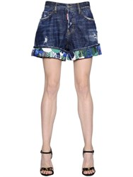 Dsquared2 Kawaii Washed And Destroyed Denim Shorts