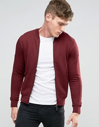 Armani Jeans Sweat Bomber Jacket With Back Eagle Logo In Burgundy Burgundy Red