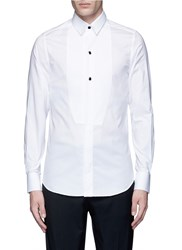 Ports 1961 Textured Bib Front Cotton Poplin Shirt White