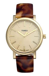 Timex Round Patent Leather Strap Watch 38Mm Tortoise Gold
