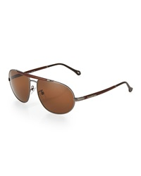 Ermenegildo Zegna Carbon Fiber Aviator Sunglasses Brown