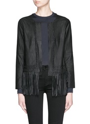 Elizabeth And James 'Fringe Garvin' Leather Jacket Black