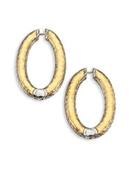 John Hardy Classic Chain 18K Yellow Gold And Sterling Silver Reversible Medium Hoop Earrings Silver Gold