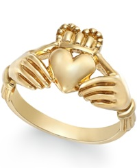 Macy's Men's Claddagh Ring In 14K Gold Yellow Gold