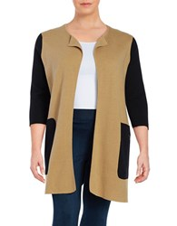 Nipon Boutique Plus Colorblocked Long Cardigan Black Camel