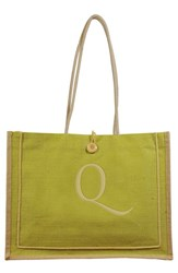 Cathy's Concepts 'Newport' Personalized Jute Tote Green Green Q