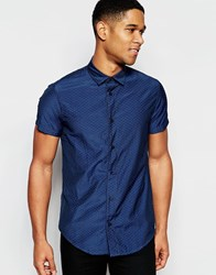 Armani Jeans Shirt With Jaquard Pattern Slim Fit Short Sleeves Blue