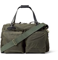 Filson 48 Hour Leather Trimmed Tin Cloth Duffle Bag Green