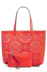 Echo 'Starburst' Reversible Tote Red Bright Coral White