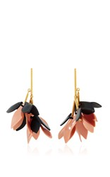 Marni Leather And Brass Earrings Pink