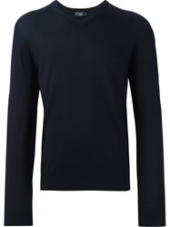 Hackett V Neck Fine Knit Jumper Blue