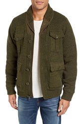 Schott Nyc Men's Military Sherpa Lined Sweater Jacket Moss Green