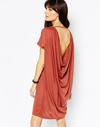 Vero Moda Drape Back T Shirt Dress Coral