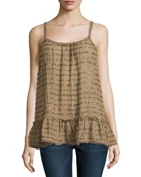 Calypso St. Barth Kenyatta Sequin Stripe Swing Tank Tobacco