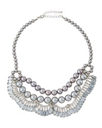 Fragments For Neiman Marcus Pearly Crystal Statement Bib Necklace Silver