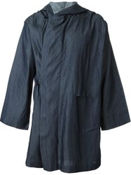Mow Wide Sleeve Drape Cape Hooded Coat Blue