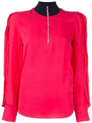 3.1 Phillip Lim High Collar Blouse Pink And Purple