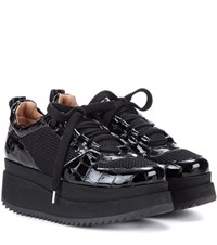 Ganni Mytheresa.Com Exclusive Naomi Patent Leather And Mesh Sneakers Black