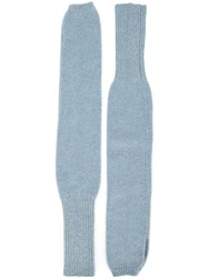 The Elder Statesman Long Fingerless Gloves Blue