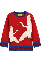 Gucci For Net A Porter Printed Bonded Cotton Jersey Sweatshirt Red