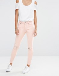 Vero Moda Busted Knee Skinny Jeans Cream Tan