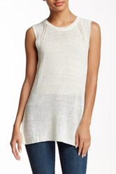 Cullen Pointelle Sleeveless Knit Tank White