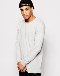 Asos Longline Long Sleeve T Shirt With Crew Neck Greymarl
