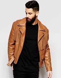 Asos Leather Jacket With Suede Fringe Detailing In Tan Brown