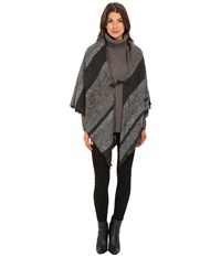 Echo Meadow Stripe Poncho Shawl Light Grey Heather Women's Sweater Gray