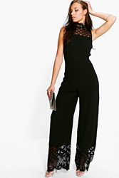 Boohoo Norah High Neck Lace Trim Jumpsuit Black