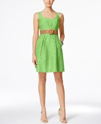 Nine West Belted Burnout Fit And Flare Dress Green