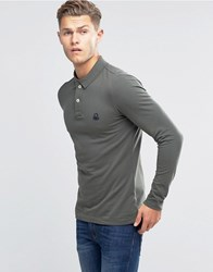 United Colors Of Benetton Long Sleeve Pique Polo Shirt In Muscle Fit Khaki 1D1 Green