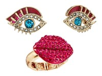 Betsey Johnson Eye Stud Earrings And Lip Stretch Ring Set Multi Jewelry Sets