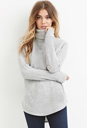 Forever 21 Loop Knit Turtleneck Sweater Light Grey