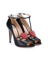 Gucci Crystal Heart Applique Leather Pumps Black Multi Coloured