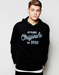 Jack And Jones Overhead Hoodie With Originals Print Black