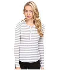 Lamade Lou Henley Top White Heather Grey Women's Long Sleeve Pullover