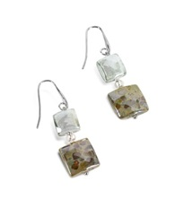 Antica Murrina Veneziana Atelier Byzantium Grey Murano Glass And Silver Leaf Dangling Earrings Gray