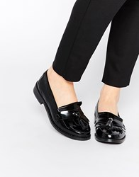Warehouse Tassel Leather Loafers Black