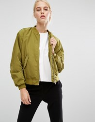 Monki Sateen Bomber Jacket Khaki Green