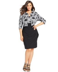 Msk Plus Size Sequin Floral Print Sheath And Jacket Black White