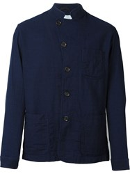 Oliver Spencer High Collar Lightweight Jacket Blue