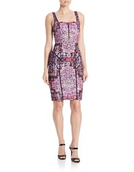 Nicole Miller Patterned Sheath Dress Purple Multi