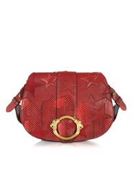 Roberto Cavalli Stars Red Leather Suede And Ayers Medium Crossbody
