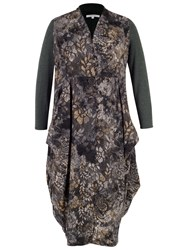 Chesca Flock And Print Jersey Coat Charcoal