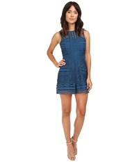 Adelyn Rae Sleeveless Romper W Ladder Trim Teal Women's Jumpsuit And Rompers One Piece Blue