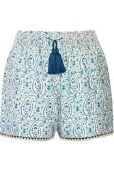 Talitha Printed Cotton And Silk Blend Shorts Blue